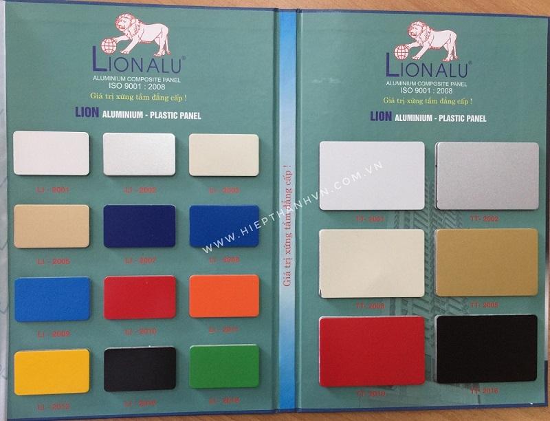 Bảng màu tấm ốp nhôm nhựa alu Lion - 1 trong những thương hiệu alu phân khúc giá rẻ nhất thị trường