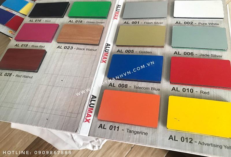 Bảng màu Alumax giá rẻ 190k/tấm