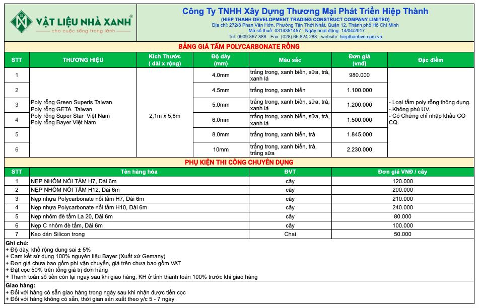 Bảng Giá Tấm Poly Rỗng và phụ kiện